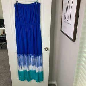 Blue Tie dye strapless maxi cruise dress size XL